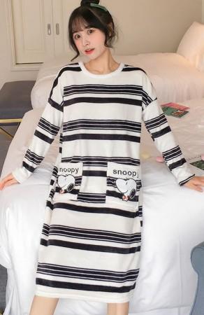 史奴比法蘭絨裙裝睡衣