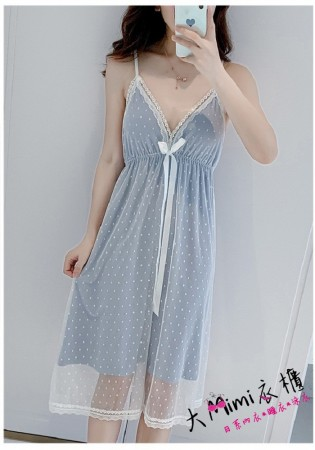 簡約波點網紗睡衣