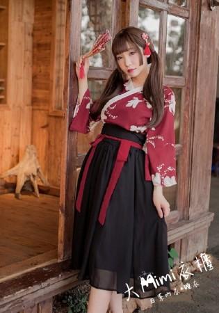古典印花高腰和服