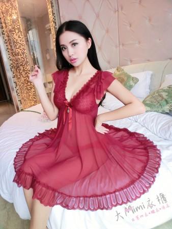 蕾絲寬袖圓裙性感睡衣