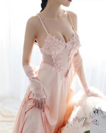 蕾絲網紗透視長裙