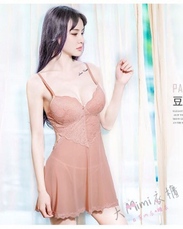 爆乳網紗馬甲睡衣裙(3色)