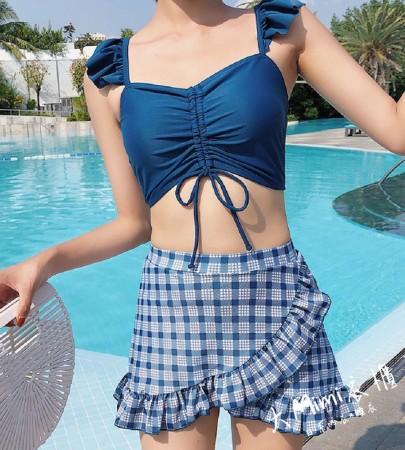 格子裙式比基尼(2色)