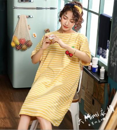 條紋櫻桃裙裝短袖居家服