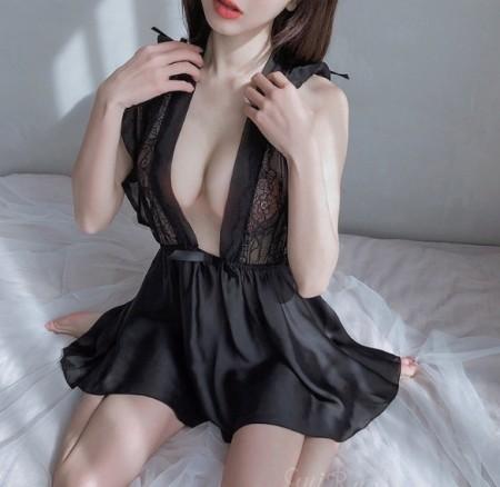 荷葉邊誘惑新娘睡衣(2色)