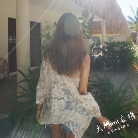蕾絲短版泳衣罩衫外套(白色)
