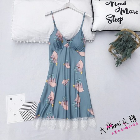 小飛象無袖洋裝睡衣(4色)