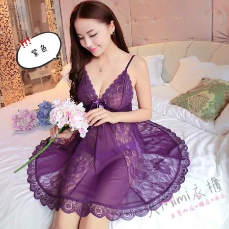 蕾絲傘狀不規則性感睡衣(5色)