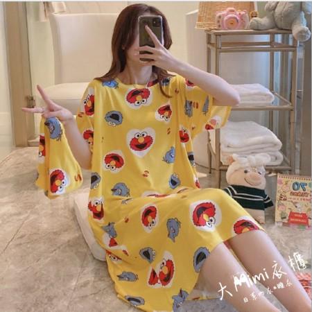 黃色芝麻街裙裝短袖居家服(附束口收納袋)