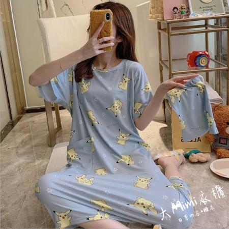 皮卡丘裙裝短袖居家服(附收納束口袋)