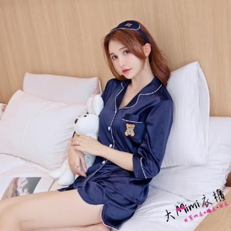 (小熊)短袖扣子褲裝-2色