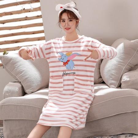 (粉條紋小飛象)長袖裙裝居家服