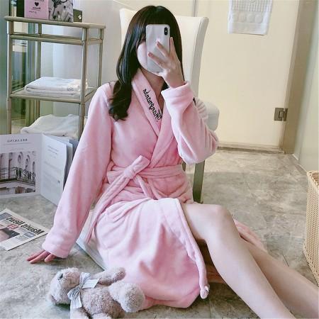 (粉英文)超暖開衫法蘭絨睡袍