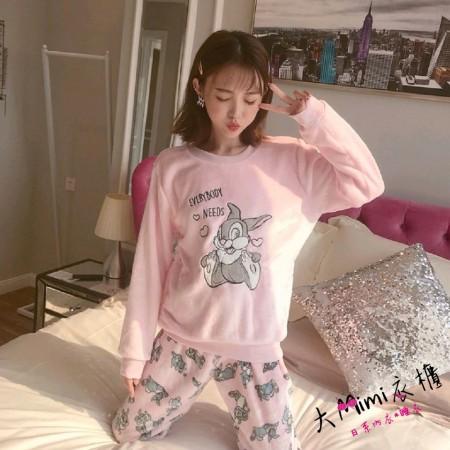 粉兔子法蘭絨保暖褲裝睡衣
