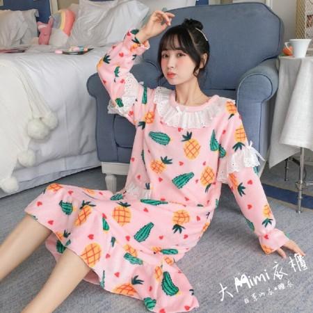 鳳梨法蘭絨裙裝睡衣
