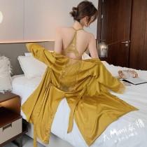 鐵塔美背造型冰絲睡衣套裝(4色)