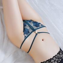珍珠刺繡線條性感開襠小丁內褲(7色)