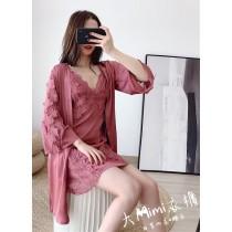 蕾絲立體花性感睡衣套裝(6色)