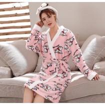 粉小飛象法蘭絨睡袍浴衣