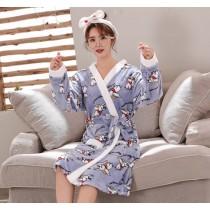 藍小飛象法蘭絨睡袍浴衣