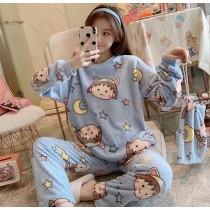 小丸子法蘭絨保暖睡衣套裝(藍色)