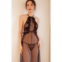 (現貨+預購)歐美款蕾絲繞頸透視性感睡衣-2色
