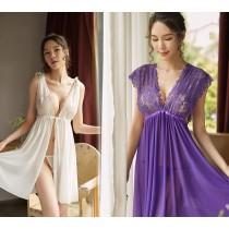 (現貨+預購)蕾絲2穿綁帶大彈性睡衣-4色