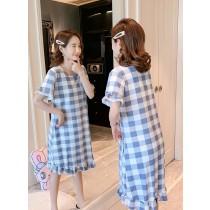 格子裙裝短袖居家服(2色)