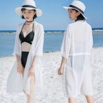泳衣開襟罩衫蕾絲長板外套(2色)