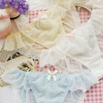 日系夢幻荷葉邊牛奶絲內褲(2色)