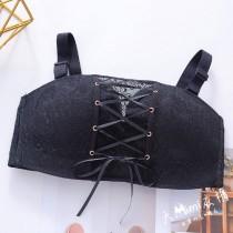 (黑90C)拉繩平口大罩杯內衣