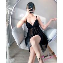 無鋼圈集中罩杯款不規則蕾絲性感睡衣(4色)