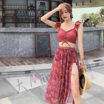 韓版遮肚子造型洋裝比基尼(2色)