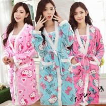 KT貓法蘭絨睡袍套裝(3色)