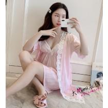 純棉蕾絲花邊性感睡衣(2色)