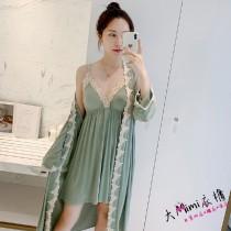 莫代爾白花邊性感睡衣(3色)