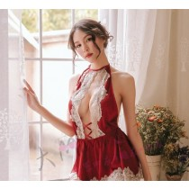 緞面性感仿真絲繞頸睡衣3色