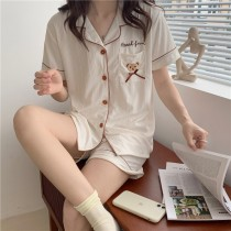 (口袋小熊)短袖扣子褲裝-2色