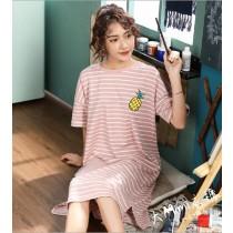 條紋鳳梨裙裝短袖居家服