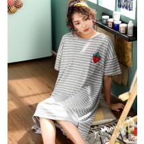 條紋草莓裙裝短袖居家服