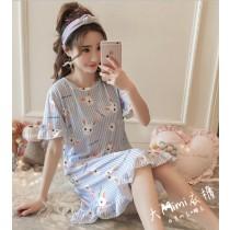 長耳兔裙裝短袖居家服(2色)