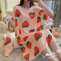 大草莓裙裝短袖居家服(附束口收納袋)