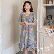 小格橘子裙裝短袖居家服