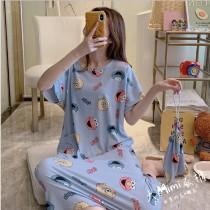 芝麻街裙裝短袖居家服(2色)(附收納束口袋)