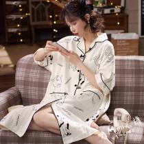 (小貓)短袖扣子洋裝
