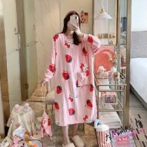 (粉草莓)長袖裙裝居家服