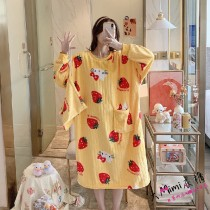(黃草莓)長袖裙裝居家服