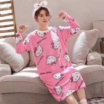 (滿身KT貓)長袖裙裝居家服