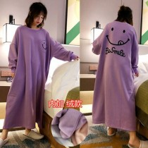 (紫笑臉)長袖裙裝居家服