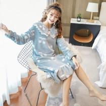 (藍櫻桃)長袖裙裝居家服